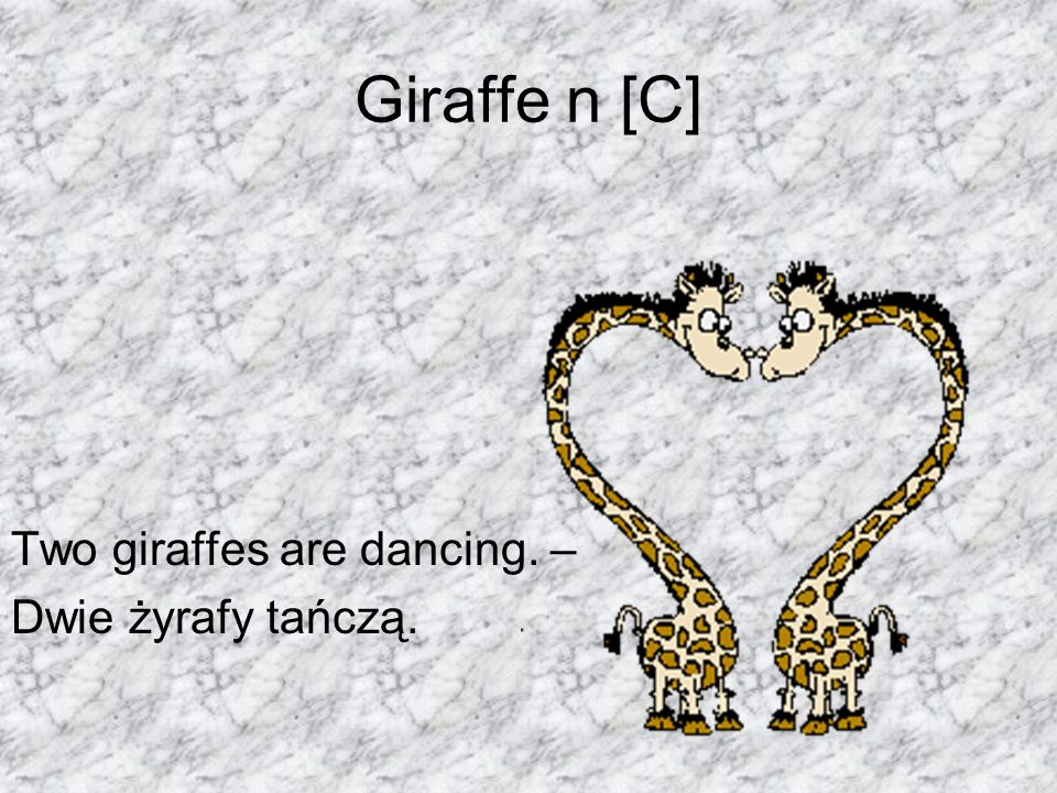 Giraffe n [C] Two giraffes are dancing. – Dwie żyrafy tańczą.